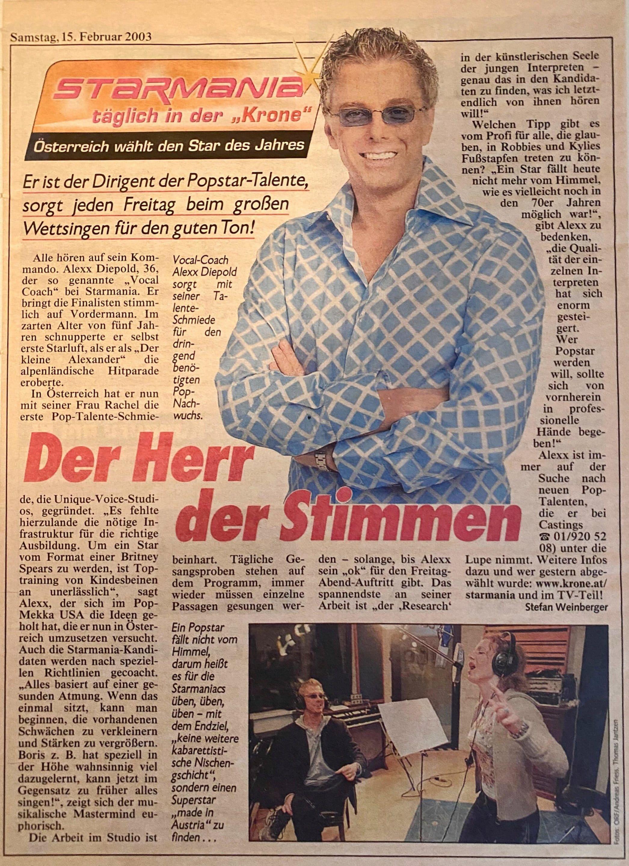 Alexander Diepold Vocal Coach bei Starmania - Artikel aus der Kronen Zeitung